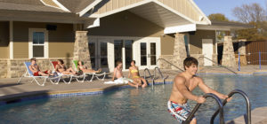 Current Residents- students by poolside