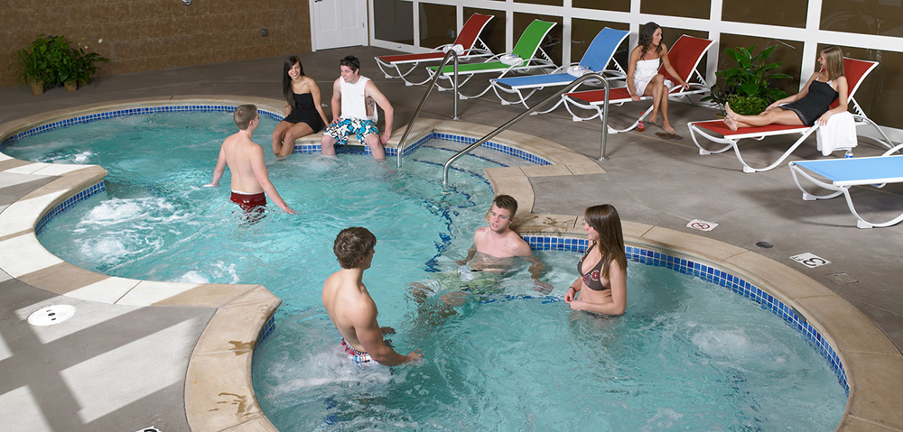 Students enjoying the hot tub